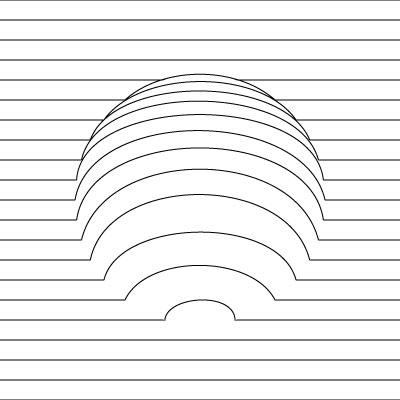平行線と曲線のみ