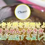かき氷器を活用せよ!「そうめん+かき氷」は清涼感が加速する夏レシピ!!