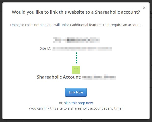 サイトとShareaholicを関連付ける